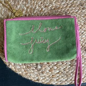 Juicy Couture green & pink velour wristlet/wallet